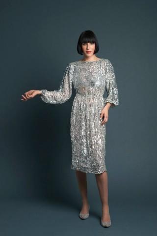 Amanda Cazalet in 70's silver sequin dress photographed by Salvatore Di Gregorio