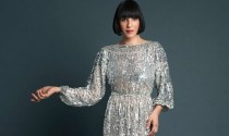 Amanda Cazalet in 70's silver sequin dress photographed by Salvatore Di Gregorio