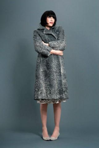 Amanda Cazalet in grey 50s Astracam photographed by Salvatore Di Gregorio