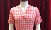 1950s vintage pink and white gingham cotton dress