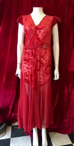 Sexy 1920's red silk devore, UK size 10. Great wearable condition, £165. Perfect for a summer wedding, cocktail party, themed event...everyday!
